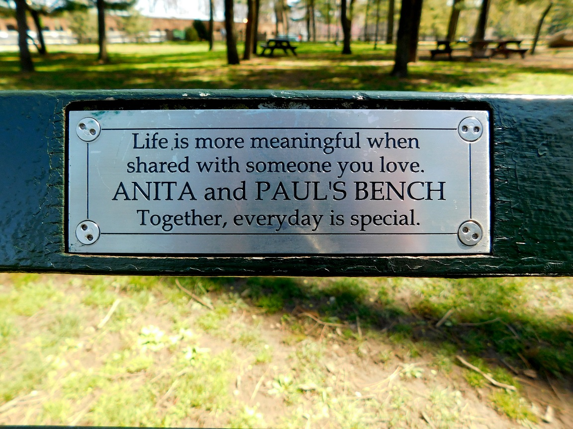 central Park bench text